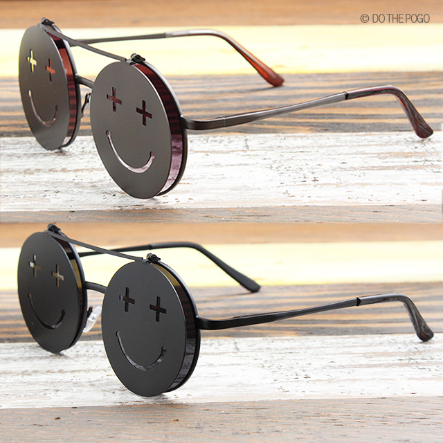 ダテメガネ,丸眼鏡,跳ね上げ,フリップアップ,ニコちゃんマーク,スマイル,サングラス